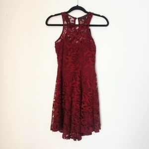 Material Girl Wine Color Lace Dress Size S